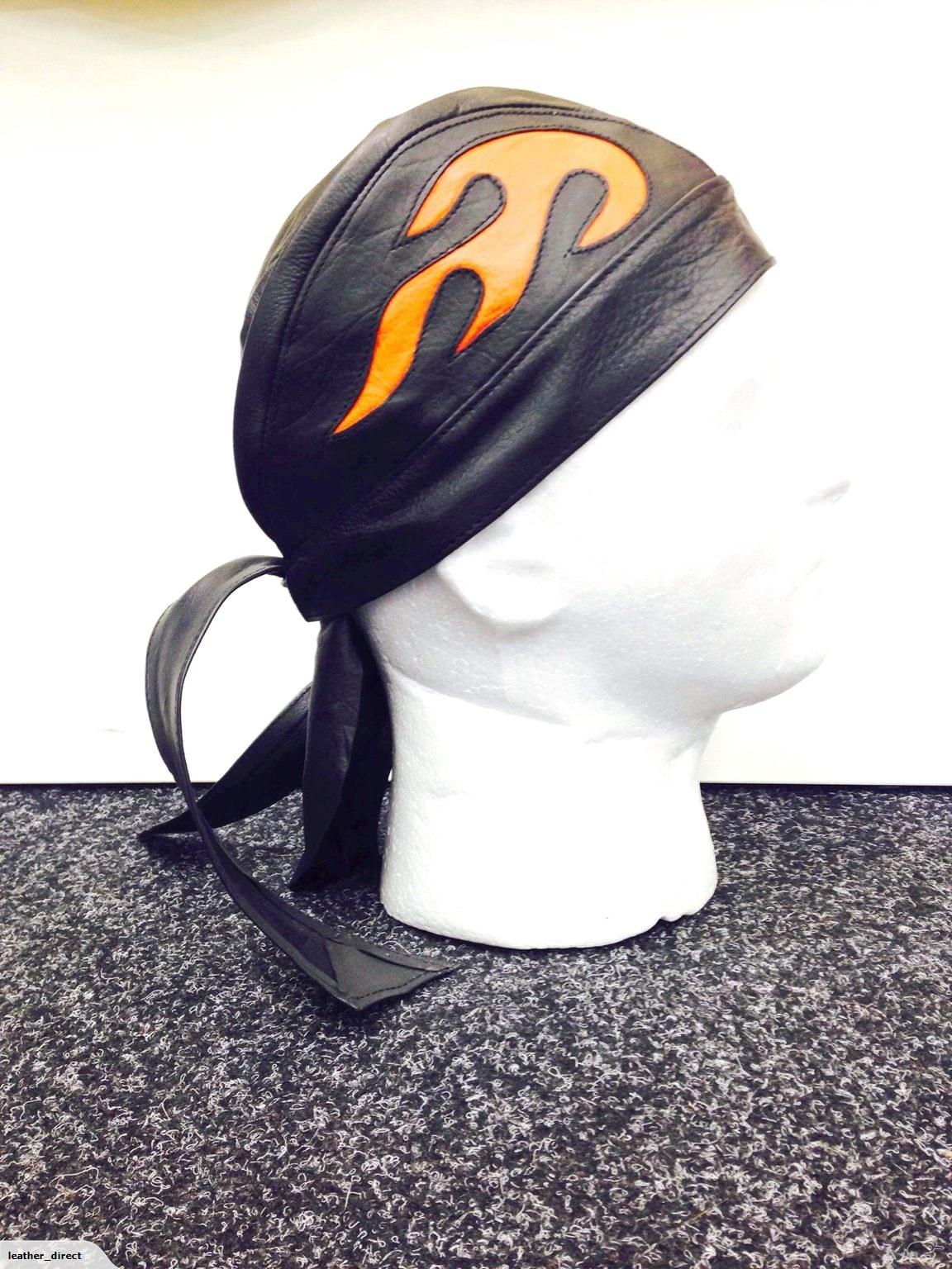 Best motorcycle gloves nz -  Leather Bandana Flydana With Orange Flame Design 29 90